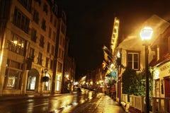 Quebec City en la noche Imágenes de archivo libres de regalías