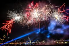 Quebec city Fireworks Saint Lawrence seaway royalty free stock photo