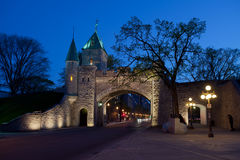Quebec  City fortified wall at dusk Royalty Free Stock Photo