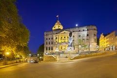 Quebec City gammal stad på natten, Kanada, ledare Royaltyfri Foto