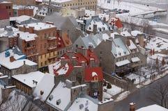 Quebec City i vintertiden Arkivbild