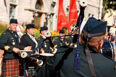Gagetown leda i rör och trummar musikband i Quebec City Royaltyfri Fotografi