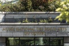 QUEBEC CITY KANADA 13 09 2017: Fondation du Musee Medborgare des-Beaux-konster som bygger slättar av den Abraham ledaren Arkivbild