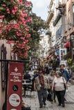 Quebec City Kanada 13 09 2017 personer i lägre stad gamla Quebec, en av de turist- dragningarna är en UNESCOarvplats Arkivfoton