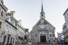 Quebec City Kanada 13 09 2017 ställe skatt för arv för Royale Royal Plaza och Notre Dame de Victories Church UNESCOvärld Arkivbild