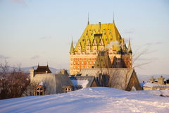 Quebec City landmark, Chateau Frontenac. Quebec City famous landmark, Chateau Frontenac in winter royalty free stock images