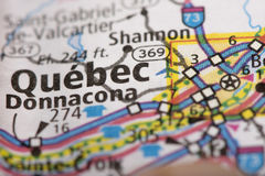 Quebec City on map. Closeup of Quebec City, Quebec on a road map of Canada Stock Image