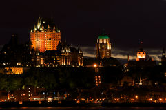 Quebec City at night. Quebec City skyline from across St. Lawrence River at night Royalty Free Stock Images
