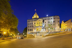 Quebec City Old Town At Night, Canada, editorial. Quebec City - June 20: Bureau de poste de la Haute-Ville and Statue of François de Laval in Quebec City Royalty Free Stock Photo