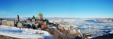 Quebec City panorama. Viewed from Cap Diamond, La Citadelle in Winter, Quebec City, Canada Stock Photo
