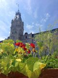 Quebec City parliament buildings and edible gardens, Canada. A view of Quebec's Hôtel du Parlement, or Parliament Buildings, the seat of the province's Royalty Free Stock Photo