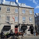 Quebec City, Quebec - October 12th, 2013: A Caleche or horse-dra royalty free stock images