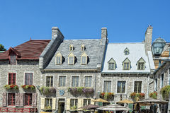 Quebec city roofs stock photo
