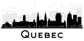 Quebec City skyline black and white silhouette. Vector illustration. Simple flat concept for tourism presentation, banner, placard or web site. Business travel royalty free illustration