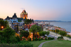 Quebec City. Skyline with Chateau Frontenac at sunset viewed from hill