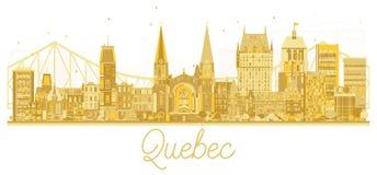 Quebec City Skyline Golden Silhouette. Vector Illustration. Simple flat concept for tourism presentation, banner, placard or web site. Business travel concept vector illustration