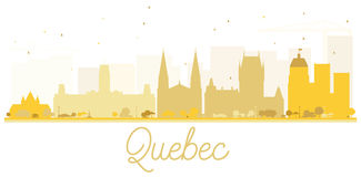 Quebec City skyline golden silhouette. Vector illustration. Simple flat concept for tourism presentation, banner, placard or web site. Business travel concept royalty free illustration