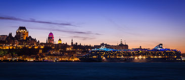 Quebec City Skyline Panorama At Sunset Stock Photography