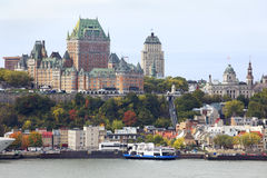 Quebec city skyline and Saint Lawrence River in autumn Stock Photos