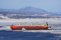 Quebec City: St. Lawrence River. Cargo ship in St. Lawrence River docking in Quebec City stock photo