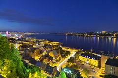 Quebec City And St. Lawrence River, Canada. View from an observation point to Quebec City old town And St. Lawrence River, Canada at night Royalty Free Stock Images