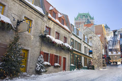 Quebec City streets, Chateau Frontenac Royalty Free Stock Photography