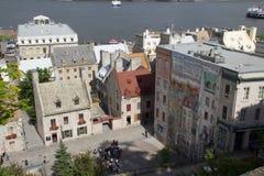 Quebec City väggmålning Fotografering för Bildbyråer