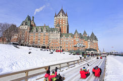 Quebec City in winter, traditional slide descent. Canada Royalty Free Stock Image