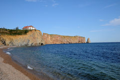 Quebec, the coast of Perce in Gaspesie Stock Photography