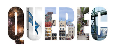 Quebec. Colorful landmarks letters isolated on white Stock Images