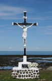 Quebec, a crucifix in Sainte Luce Stock Photo