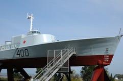Quebec, łódź w dziejowym morskim muzeum L wysepki sura mer Zdjęcie Royalty Free