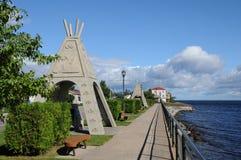Quebec, das Dorf von Mashteuiatsh stockbild