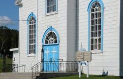 Quebec den historiska kyrkan av Baie Sainte Catherine Arkivfoton