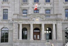 Quebec, el 28 de junio: Viejos detalles del edificio de la oficina de correos de la ciudad de Quebec vieja en Canadá Imagenes de archivo