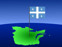 Quebec with flag. Map of province of Quebec with their flag Royalty Free Stock Image