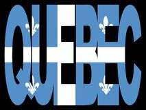 Quebec with flag. Overlapping Quebec text with their flag illustration Stock Photo