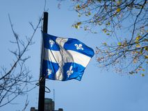Quebec flag in front of a trees waiving in the air. Also known as Fleur de Lys, or fleurdelise, it is the official symbol. Picture of a Quebec flag waiving in stock photography