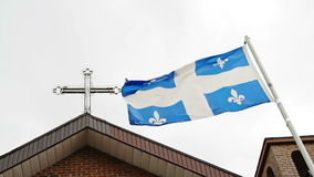 Quebec Flag and Religion stock video