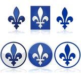 Quebec fleur-de-lys. Glossy illustration showing the Quebec fleur-de-lys in blue and white Stock Photo