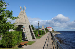 Quebec, het dorp van Mashteuiatsh Stock Afbeelding