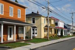 Quebec, het kleine dorp van Heilige Bruno stock afbeelding