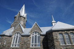 Quebec, the historical church of Baie des sables Royalty Free Stock Photography