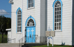 Quebec, the historical church of Baie Sainte Catherine Stock Photos