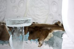 Quebec ice hotel interior Stock Photo