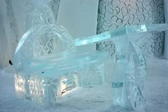 Quebec ice hotel interior chapel Stock Photo