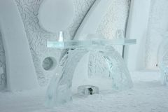 Quebec ice hotel interior chapel Stock Images