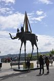 Quebec, 29 Juni: Dali Elefant Statue van Terasse Duferin van de Oude Stad van Quebec in Canada Stock Afbeelding