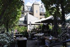 Quebec, 28 Juni: Terras in Park Felix Leclerc van Rue du Champlain in de Oude Stad van Quebec in Canada stock foto's
