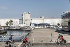 Quebec Kanada 12 09 2017 personer på cyklar framme av den Quebec City Kanada för gammal port ledaren Arkivfoto